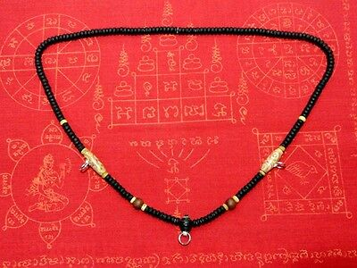 Rare Ancient Thai Necklace Coconut Shell,3 Hook Phra, LP,Buddha,Amulet Handmade