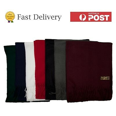 Mens Plain Scarf Black White Grey Red Blue Green Soft Acrylic Wool Touch Scarves