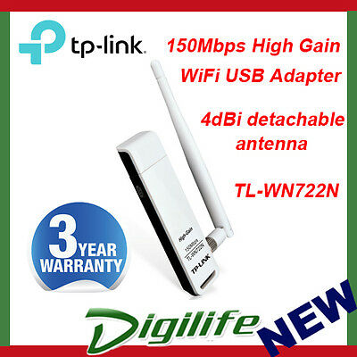 TP-LINK TL-WN722N 150Mbps High Gain Wireless USB Adapter 4dBi Detachable Antenna