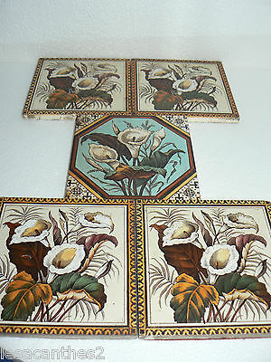 Serie De 5 Carreaux Carrelage Faience Decor D'aromes Anciens Frise Decoration