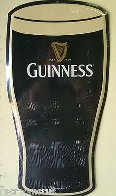 GUINNESS Beer glass metal sign die cut to shape of Guinness glass dark import