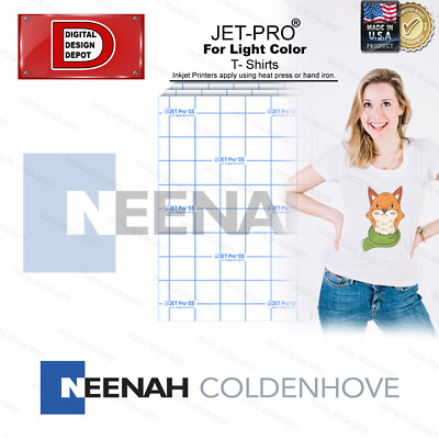 "Inkjet Heat Transfer Paper Jet Pro® Light Fabrics 50 Sheets 8.5"" X 11"""