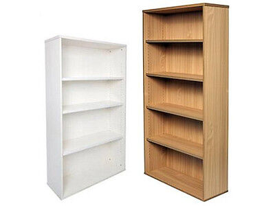 RAPID OFFICE BOOKCASE SPBC18 - White/beech adjustable shelves, Fast Delivery