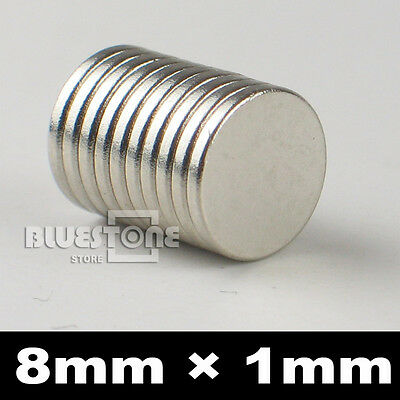 100pcs N35 Silver Super Strong Round Rare Earth Neodymium Magnets 8mm x 1mm