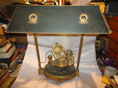 LARGE Antique Gilt Bronze and Marble French Bouillotte Figural Inkwell Lamp