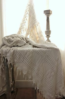 Vintage French hand-made knit knited bed cover coverlet off-white cotton ~70X80