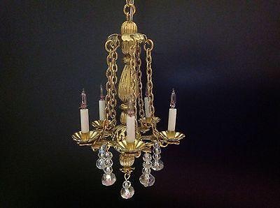 Dollhouse Miniature Handcrafted Crystal Bass Chandelier 5 Arm 1:12, 12V