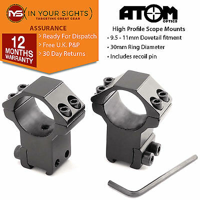 Rifle scope mounts to fit 9.5-11mm dovetail rifle rails. 30mm rifle scope rings