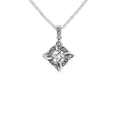 Celtic Silver Trinity Knot Pendant With Marcasite Stones 9462
