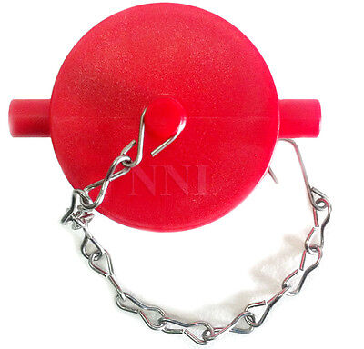 """2-1/2"""" NST Poly Plug with Chain For Fire Department Connection, Hydrant Red"""