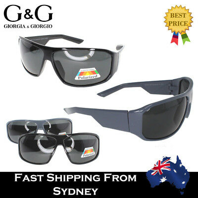 G&G Mens Sports Polarised Sunglasses Wrap Around Flat Top Black Grey Polarized