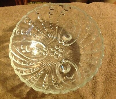 Anchor Hocking Clear Glass Burple Bowl-3 foot, Oyster & Pearl Pattern 4 1/2 1592