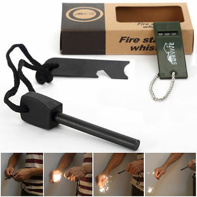 Outdoor Mini Fire Starter Lighter Steel Flint+Whistle+ Rule Camping Survival BBQ