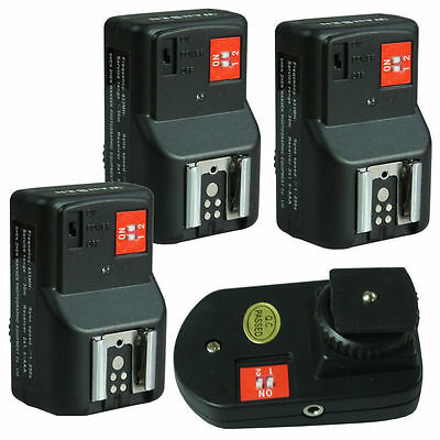 PT-04GY 4 Channels Wireless Flash Trigger+3 Receivers for Canon Nikon Pentax