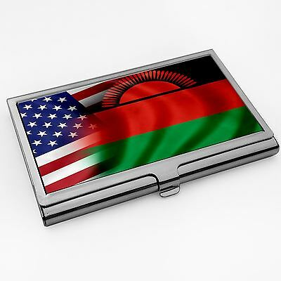 Business Card Holder with Flag of Malawi and USA   (Malawian)