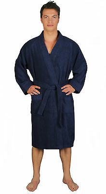 Mens ARCHEE Style 100% Turkish Cotton Terry Cloth Kimono Bathrobe Blue S M L