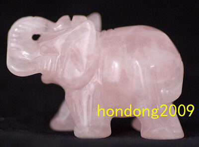 100% Natural Pink QUARTZ CRYSTAL Gemstone Hand Carved Elephant  2''