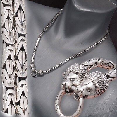 """26"""" 127g LION KING BALI BYZANTINE 925 STERLING SILVER MENS NECKLACE CHAIN PRE"""