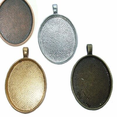 OVAL SILVER BRONZE GOLD CAMEO CABOCHON PENDANT SETTING TRAY 30x22mm  C29
