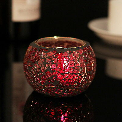 Red Mosaic Tealight Candle holders E Design x 1