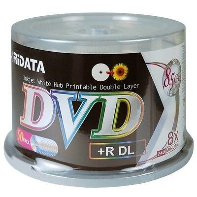 200 RIDATA 8X White Inkjet Hub Printable DL Dual Layer DVD+R 8.5GB Disc Cake Box