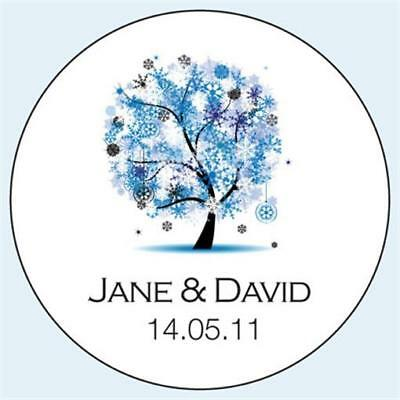 Personalised Wedding Stickers Labels. Any Colour. 5 sizes. Winter Tree 041