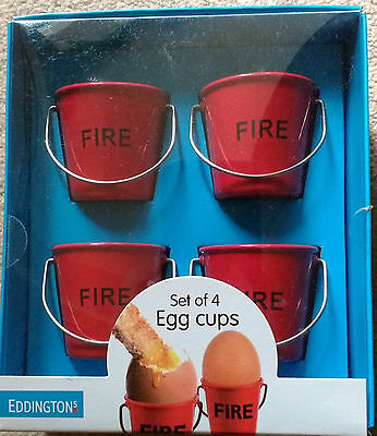 Set of 4 Red metal bucket egg cups in acetate window gift box