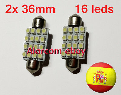 2 x Bombillas 16 LED SMD C5W Festoon 36mm Matricula, interior... Blanco #1028