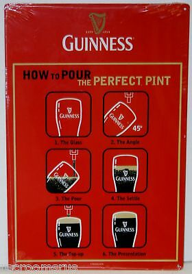 GUINNESS HOW TO POUR THE PERFECT PINT metal beer sign Guinness dark import bar