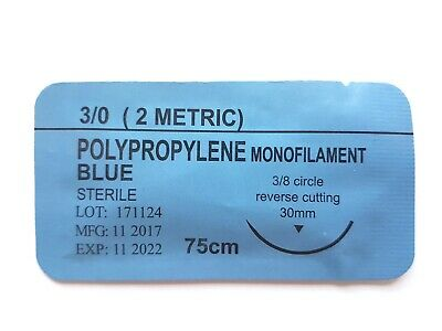 12 x PRACTISE SUTURES Polypropylene Blue Monofilament 3-0 (Non-absorbable)