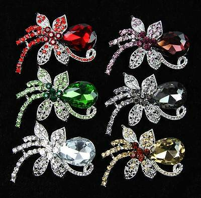 6 pcs/lot Hot Sale New Fashion Mixed Colors Glass & Alloy Jewelry Brooch Pin