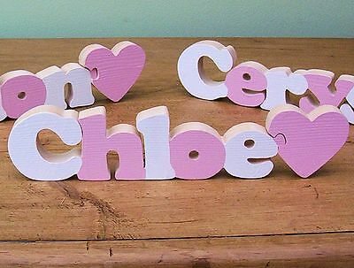 Girls Pink & White Wooden Name for a Children's Bedroom or Playroom