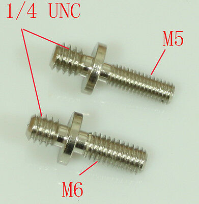 "2x  1/4"" Male Threaded to M5 & M6 Male Threaded screw Adapters for tripod camera"