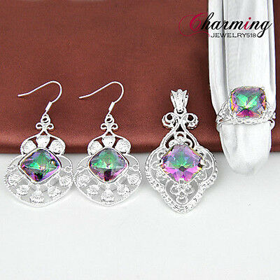 SET Jewelry Fashion Rainbow Mystical Topaz Gems Silver Pendant & Ring & Earring