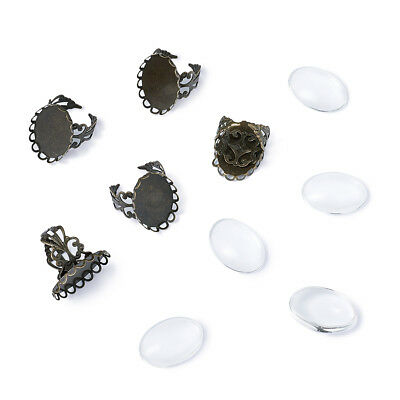 10Sets Oval Tray Clear Glass Cabochons Brass Pad Ring Base Making Jewelry Making