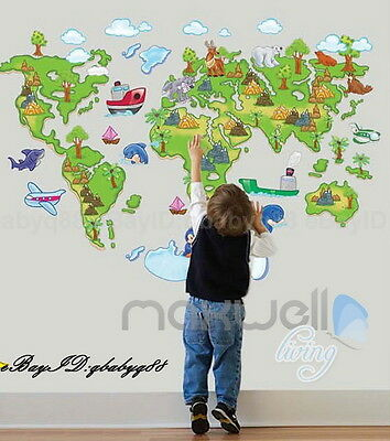 Large Animal World Map Wall Decals Removable Sticker Home Decor Kids Nursery Art