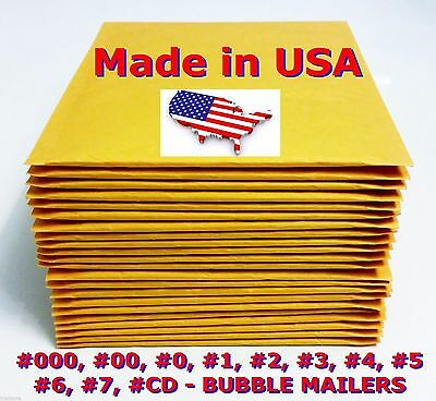 250 #0 6.5X9.5 Bubble Mailers Padded Envelopes bags CD DVD - Free Shipping #0