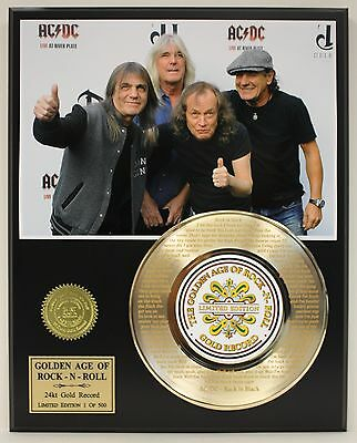 Ac/dc Gold Record Limited Edition Laser Etched With Song's Lyrics