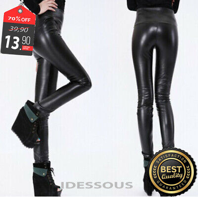 Sexy High Waist Clubwear Leggings Wetlook Leggins Leder Optik Legging Hose S M L