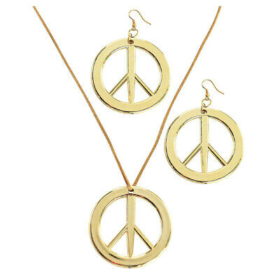 HIPPIE Necklace & Earring SET Peace Signs Party Costume Halloween 60s 70s KIT