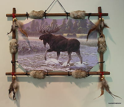 Indian Picture Moose Dream Catcher Mandella  22 x16 beads feathers Frame