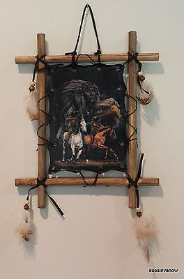 "Dream Catcher Indians Riding Horses Leather Mandella Wood Frame 11""x9"""