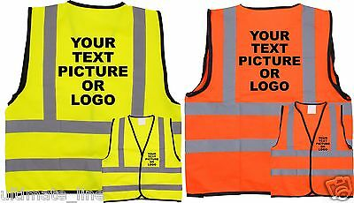 PERSONALISED KIDS HI VIS HI VIZ SAFETY VEST WAISTCOAT Child Logo text Print