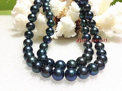 """LONG rare AAAAA 35""""10-11mm REAL NATURAL round southsea black pearl necklace 14K"""