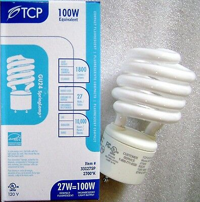 TCP 33127SP 27 Watt 2700K GU24 Base Warm White Spiral CFL Light Bulb 100W Equal