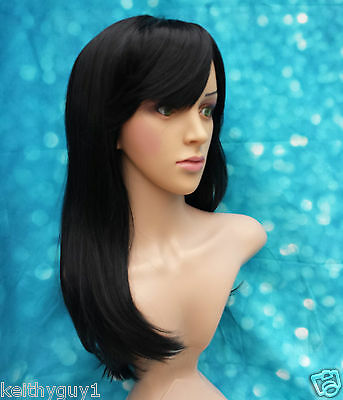 Ladies DIY synthetic black long straight style hair wig, classic cap