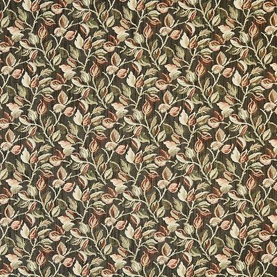 F910 Black Red And Green Floral Leaves Tapestry Upholstery Fabric By The Yard