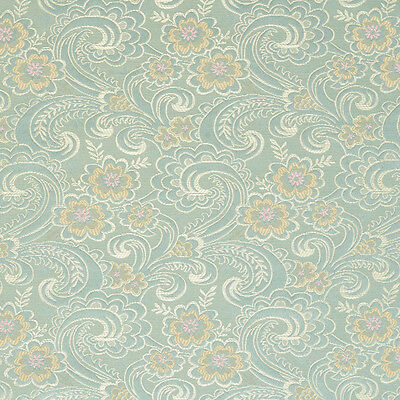 D122 Gold Pink And Blue Paisley Floral Brocade Upholstery Fabric By