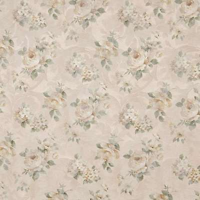 F809 Green Gold Pastel Floral Roses Jacquard Woven Upholstery Fabric By The Yard