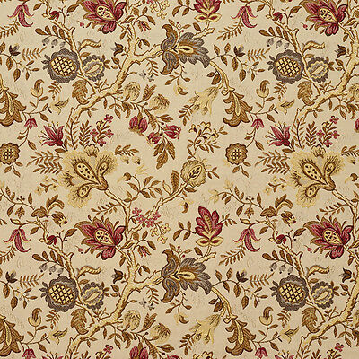 C660 Red Gold Beige Brown Flowers Leaves Vibrant Upholstery Fabric